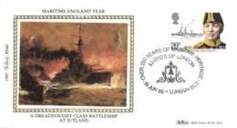 UK 1982 Mi. 921 FDC Silk, Maritime England, Lord John Arbuthnot Fisher, Ship Dreadnought, Jutland - Ships