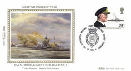 UK 1982 Mi. 922 FDC Silk, Maritime England, Admiral Viscount Cunningham, Ship HMS Warspite - Ships