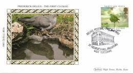 UK 1985 Mi. 1029 FDC Silk, Europa Music, Frederick Delius, The First Cuckoo, Bird - Coucous, Touracos