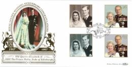 UK 1997 Mi. 1719-1722 FDC Silk Windsor, Royal Golden Wedding Anniversary, Queen Elisabeth II And Prince Philip - FDC