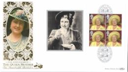 UK 2000 Mi. 1888 Booklet Sheetlet FDC Silk, Hundredth Birthday Of The Queen Mother Elisabeth - FDC