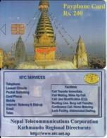NEPAL -  Temple, Nepal Telecom Telecard, First Issue RS 200(matt Surface), Sample(no CN) - Nepal