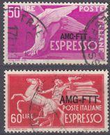 TRIESTE ZONA A - 1950/1952 - Espresso, Serie Completa Di 2 Valori Usati: Yvert 11 E 12. - 7. Triest