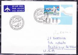 SWITZERLAND 1988 COVER ZURICH PRO AIRMAIL TO ANCHORAGE AK. USA AIRPLANE OVER ZERMATT MOUNTAIN NICE CARIBOU POSTMARK - Flugzeuge