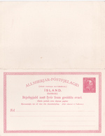 Entier Postal Stationery - Island (Danmark) - Double Avec Réponse Payée - Entiers Postaux
