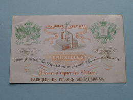 Maisons S. LEVY & Cie Rue Du Pont Neuf BRUXELLES Fabrique ( Porcelein / Porcelaine ) Formaat +/- 10,5 X 6,5 Cm.! - Cartes De Visite