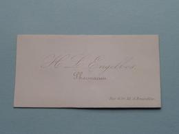 H L ENGELBOS Pharmacien - Rue D'OR 35 à BRUXELLES ( Porcelein / Porcelaine ) Formaat +/- 8,5 X 4,5 Cm.! - Cartes De Visite