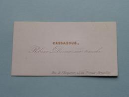 CASSASSUS Relieur Doreur .... - Rue De L'Empereur 13 à BRUXELLES ( Porcelein / Porcelaine ) Formaat +/- 8,5 X 4,5 Cm.! - Cartes De Visite