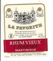 Etiquette Rhum  Vieux  Agricole 40° La Favorite - Médaille Or 1978 Et 1984 -  MARTINIQUE - - Rhum