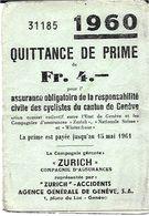 Suisse  Assurance  QUITTANCE De  PRIME CIVILE Des Cyclistes De GENEVE  En 1960 - Titres De Transport