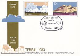Entier Postal Stationery Europa -  MALTE / MALTA - Tembal 1983 - Malte