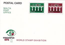 Entier Postal Stationery Europa -  MALTE / MALTA - Espana 84 World Stamp Exhibition   - Non Oblitéré - Malte