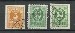 Estland Estonia 1919 Michel 6 - 8 O Numeral Design - Estonia