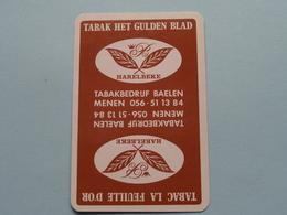 Tabakbedrijf BAELEN ( Tabak Het Gulden Blad / La Feuille D' Or ) Menen / Schoppen 2 ( Zie Foto's Voor En Achter ) ! - Cartes à Jouer Classiques