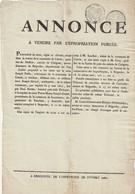Très Rare Affichette Annonce Vente Pour Expropriation Forcée 9 Mai 1807 à Carcès - Collections