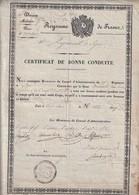 Rare Certificat De Bonne Conduite Royaume De France Du 26 Régiment De Ligne 26 Octobre  1827 Charles X - 1914-18