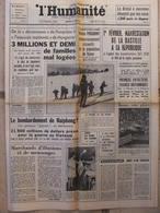Journal L'Humanité (25 Janv 1967) Mal Logées - Djibouti - Bombardement Haiphong - Apollo - J Gréco - 1950 - Today