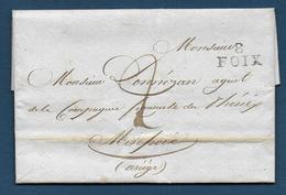Ariège - 8  / FOIX  Sur Lettre De 1824 - Storia Postale