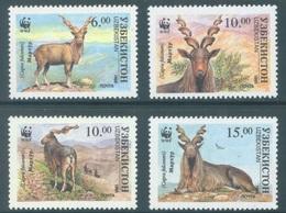 OUZBEKISTAN - 1995 - MNH/*** - CHEVRE MARKHOR WWF -  Yv 61AA - 61AD - Lot 19030 - Ouzbékistan