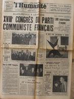 Journal L'Humanité (4 Janv 1967) XVIIIe Congrès PC Français - Mort De Ruby - J Gréco - 1950 - Today