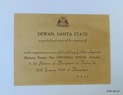 INDIA Year 1948. Rare Wedding Invitation Card By Dewan, Danta State - Boda