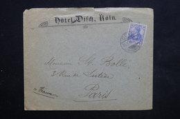 ALLEMAGNE - Enveloppe D 'hôtel De Köln Pour Paris En 1905 - L 23782 - Covers & Documents
