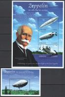 T948 GHANA TRANSPORT DIRIGIBLES ZEPPELIN #3130-33 MICHEL 11,5 EURO 1KB+2BL MNH - Zeppeline