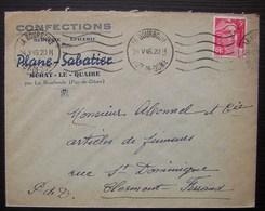 Murat Le Quaire (Puy De Dôme) 1946 Plane Sabatier Confections Mercerie épicerie, Cachet De La Bourboule - Poststempel (Briefe)
