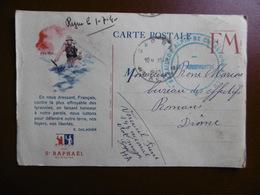 CARTE FM OFFERT PAR St RAPHAEL CACHET DE FRANCHISE MILITAIRE CHASSEURS A PIED - Illustrateurs & Photographes