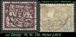 Mi. Nr. 156 In Gebraucht - Geprüft - DANZIG 1 T - Danzig