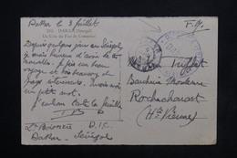 """SÉNÉGAL - Cachet """" Dépôts Des Isolés Dakar """" Sur Carte Postale En FM Pour La France - L 23802 - Sénégal (1887-1944)"""