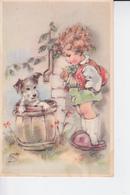 Petite Fille Et Un Chien Dans Un Tonneau - Scènes & Paysages