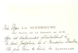 Visitekaartje - Carte Visite - La Supérieure Des Soeurs De La Charité - Zaffelare - Cartes De Visite