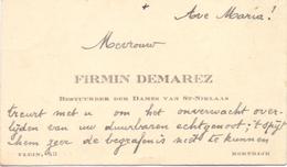 Visitekaartje - Carte Visite - Bestuurder Dames Van Sint Niklaas - Firmin Demarez - Kortrijk - Cartoncini Da Visita