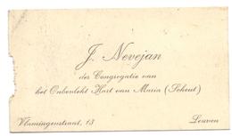 Visitekaartje - Carte Visite - J. Nevejan - Congregatie Onb. Hart Van Maria - Scheut - Leuven - Cartes De Visite