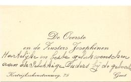 Visitekaartje - Carte Visite - Overste Zusters Josephinen - Gent - Cartes De Visite