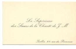 Visitekaartje - Carte Visite - La Supérieure Des Soeurs De La Charité - Ixelles - Cartes De Visite