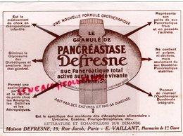 75- PARIS- RARE BUVARD MAISON DEFRESNE-19 RUE JACOB- E. VAILLANT PHARMACIEN PHARMACIE-PANCREASTASE - Produits Pharmaceutiques