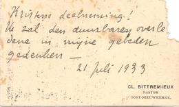 Visitekaartje - Carte Visite - Pastoor Cl. Bittremieux - Oost Nieuwkerke 1933 - Cartes De Visite