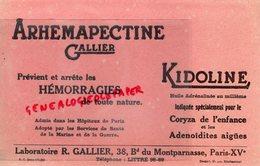 75- PARIS- RARE BUVARD LABORATOIRE R. GALLIER-38 BD MONTPARNASSE-ARHEMAPECTINE-KIDOLINE CORYZA-PHARMACIE - Produits Pharmaceutiques