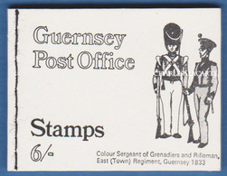 GUERNSEY/GUERNESEY 1969 COMPLETE BOOKLET COVER MILITARY UNIFORMS 6 SHILLINGS S.G. B 3 CARNET - Guernesey