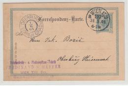 Austria Postal Stationery Postcard Travelled 1901 Ferdinand Schaffer Wien To Oberburg Gornji Grad B190220 - Brieven En Documenten