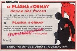 16- COGNAC - BUVARD LABORATOIRES D' ORMAY- PLASMA - CHARENTE -LITHOGRAPHIE MIETTE ANGOULEME - Droguerías