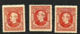 3 & VARIETY -- SLOVAKIA-- 1939  MNH - Unused Stamps