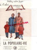 75- PARIS- BUVARD LA POPULAIRE VIE- ASSURANCE ASSURANCES- FAMILLE- PARAPLUIE-128 RUE DE RENNES - Bank & Insurance