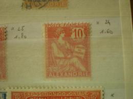 TIMBRE COLONIE FRANCAISE  ALEXANDRIE N° 24 MH - Nuevos