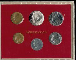 500 Lire Argento + 5 Monete Città Del Vaticano Joannes Paulus II 1980 Con Busta - Vaticano