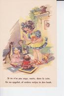 Si Tu N'est Pas Sage, Ouste,dans Le Coin , Petite Fille Avec Ses Peluches,singe,poupée.... - Ambachten