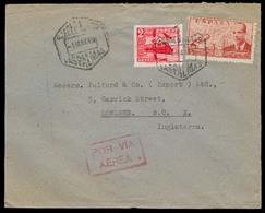 E-ESTADO ESPAÑOL. 1949 (1 Mayo). Las Palmas - UK. Tarifa 2p 25c Con Marca En Rojo Via Aerea. Bonita. - Spain