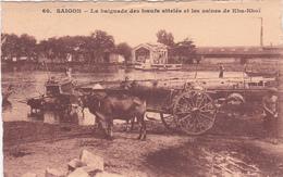 CPA Saigon - La Baignade Des Boeufs Attelés Et Les Usines De Kha-Nhoï - 1929 - Indochine Timbres N°131 + 127 - Vietnam